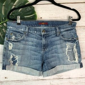 7 For All Mankind Distressed Mid Roll Shorts Sz 28